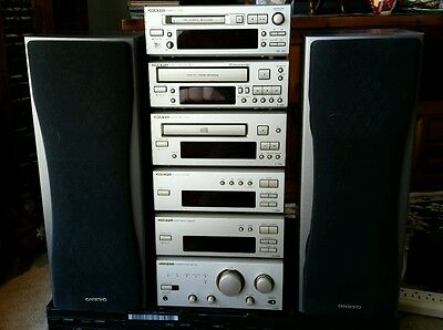 ONKYO STEREO SYSTEM Amp, CD, MD, Cassette, Tuner, Equalizer 3-Way Speakers HiFi
