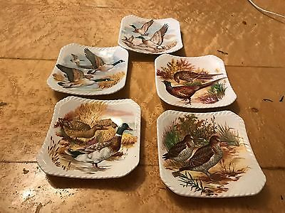 Royal Adderley 5 Game Birds Small Dishes All Different