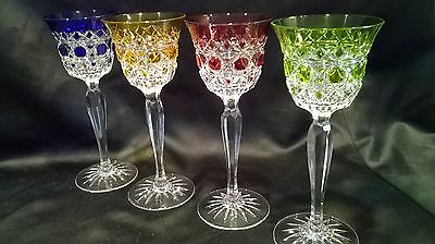 Val Saint Lambert Multi Color  Cut To Clear 4 Wine Glasses Vintage/mint