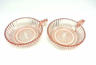 Queen Mary Pattern Pink Anchor Hocking Fruit Bowls With Handle Set Of 2