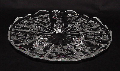 """PERFECT Vintage Fostoria """"CHINTZ"""" Etched Footed Tidbit Tray!!"""