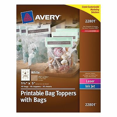 Avery Printable Bag Toppers with Bags, Pack of 40 (22801)