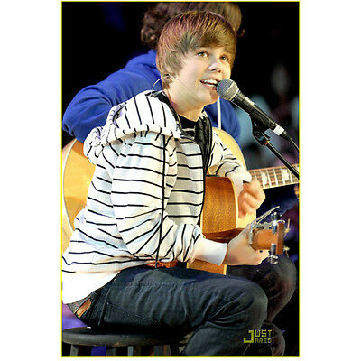 Justin Bieber Just Starting His Career Playing Guitar 8 x 10 Inch Photo