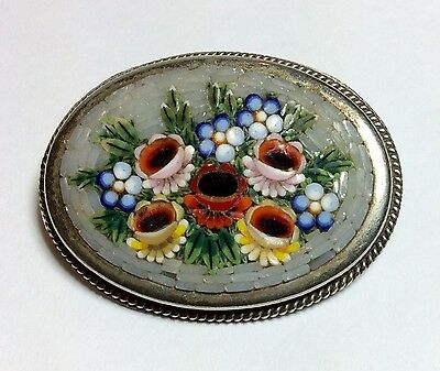 Antique Micro Mosaic Glass Tiles Brooch Pin Delicate Flowers