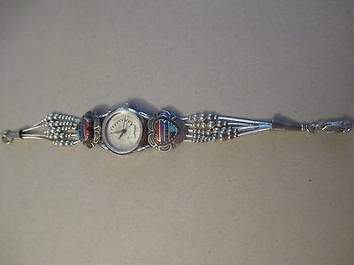 G.I.I. SOUTHWEST STERLING SILVER WATCH w/ INLAY HEARTS INDIAN HEAD PENNY DIAL