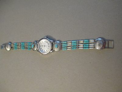 Carolyn Pollack Southwest Sterling Silver 5 Strand Heishi Turquoise  Watch Cp