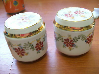 Lovely SALT and PEPPERS SHAKERS Hand painted Val Rostall