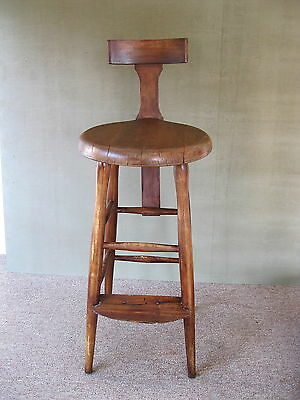 """Antique Stool Primitive Wood 25-1/2"""" Tall Round Seat 4-Leg Stand Back Foot Rest"""
