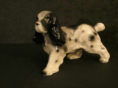 Dog Figurine Japan Vintage Spaniel English Spaniel Black & White Cute Puppy!!!