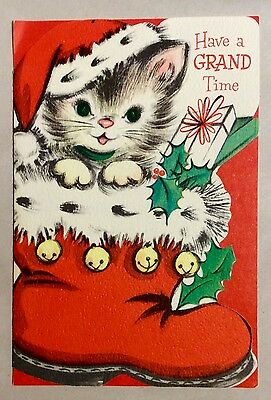 Sweet Adorable Kitten in Red Santa's Boot 1950's Vintage Christmas Greeting Card