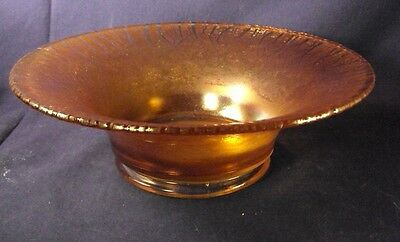 Jeannette stretch glass bowl amber marigold color 10""