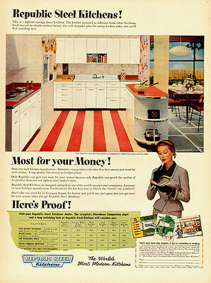 1952 vintage AD, Republic Steel Kitchens, great 50s style! -060214