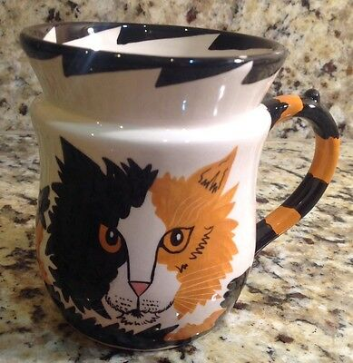Cats By Nina Lyman Cat Coffee Mug, Tail Handle, Orange & Black Cat