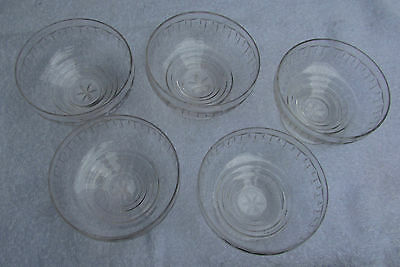 Set X 5 Vintage Stuart Cut Crystal Bowls Dishes