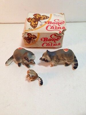 3 Bone China Raccoon Figurines Vintage Collectibles In Box Animals