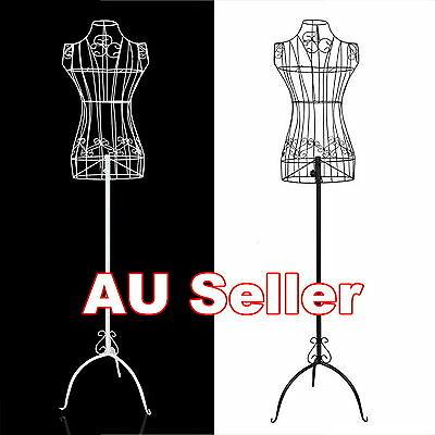 Female Vintage Mannequin White Black Iron Wire Adjustable Height Shop Hangerght