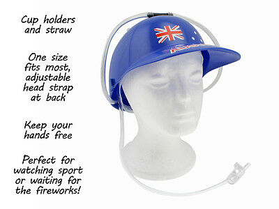 Aussie Party Hat with Straw and cup holders Australia Day Flag Design - No hands
