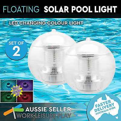 2x Airtime Floating Solar Powered Pool Light Multi-Coloured LED Disco Party 83mm