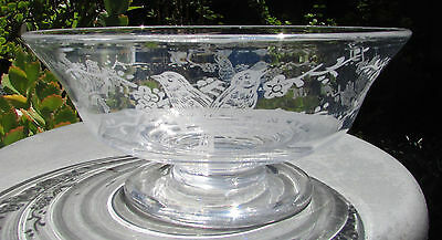 Stunning Vintage Stuart Crystal Footed Master Bowl Love Birds