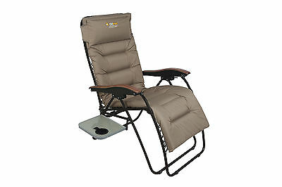 Oztrail Brampton Sun Lounge Deck Camping Chair Side Table Padded Arms Head Rest