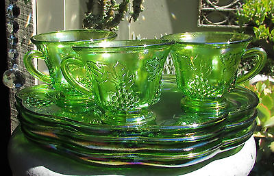 3 Vintage Green Carnival Glass Tennis Morning Tea Sets Duos Iridescent