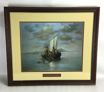 VTG The Miracle of the Fish 24x28 Wood Framed Matted Wall Print Christian Art