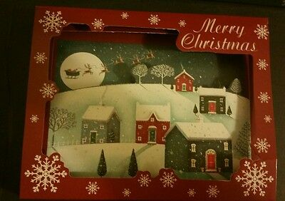 New Box of 10 Pop-Up 3D Christmas Cards Snowy Town Night Before Christmas Theme