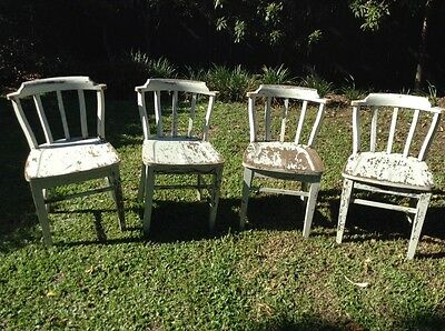 Antique Solid Pine Dining Chairs Set of 4