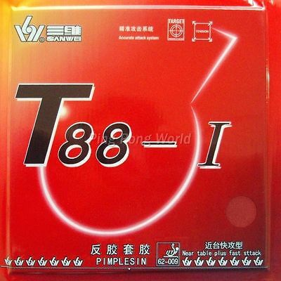 Sanwei T88-I with TARGET stamp on the sponge Pips-in red 2.2mm