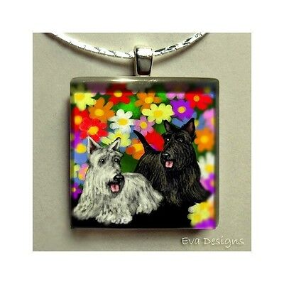 Scottish Terrier Dogs Scottie Art Pet Gift Jewelry Glass Tile Pendant Necklace