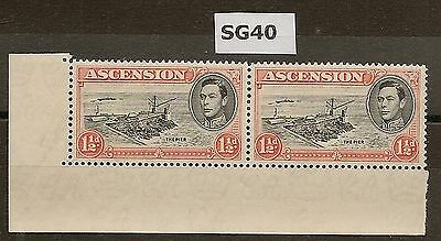 ASCENSION 1938-53 KGVI P13½ PLATE 1 PAIR 1½d SG40 (STAMPS NHM)