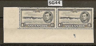 Ascension 1938-53 Kgvi P13½ Plate 1 Pair  1/- Sg44 (Stamps Nhm)