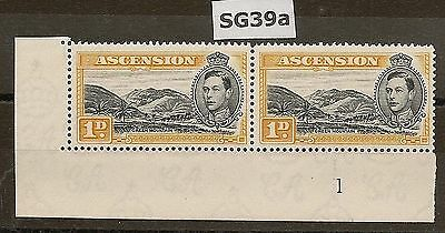 ASCENSION 1938-53 KGVI P13½ PLATE 1 PAIR 1d SG39a (STAMPS NHM)