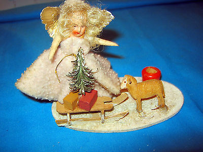 Christmas scene /cotton angel/wooden sledge /sheep/paper mache christmas tree