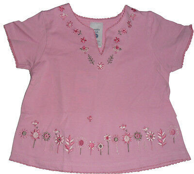 Size 00 - Baby Girls Pumpkin Patch Pink top with embroidered flowers