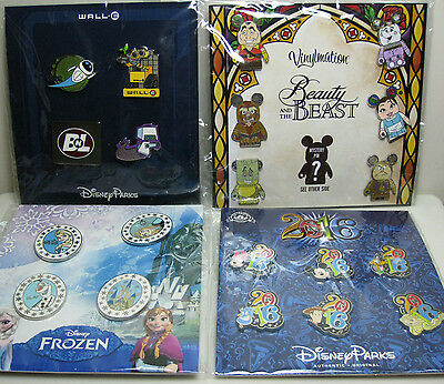 Lot of 4 Disney Parks Booster Pin Packs - Belle - Frozen - 2016 - Wall-E - New