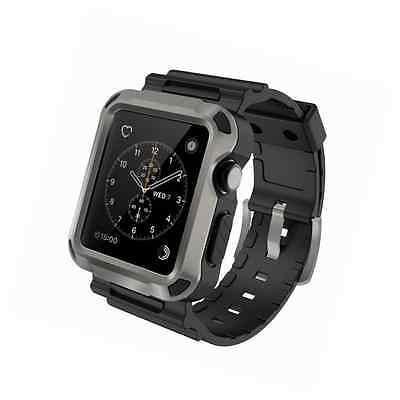 Apple Watch Case, Simpeak Rugged Protective Case with Strap Bands, 42mm