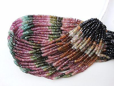 """A+ 1 Strand Natural Multi Tourmaline Rondelle Faceted Gemstone Beads 3-4mm 13"""""""
