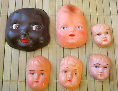 Rare lot of 6  antique doll  face masks made in Germany -artist