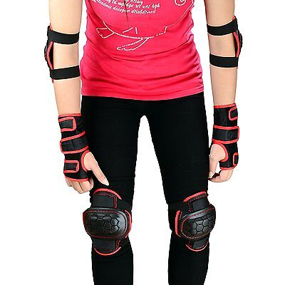 WIN Childs Skate and BMX Pads for Knee Elbow Wrist(S, Black Red)