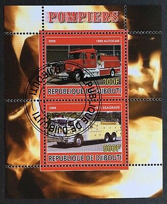 Feuerwehr Fire trucks Engines Auto Cars Djibouti 2008 KB Sheet