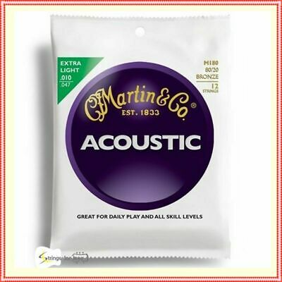 Martin M180 Traditional 80/20 Bronze Acoustic Guitar Strings 12-String 10-47