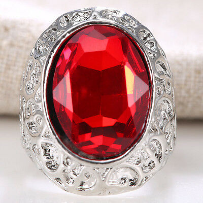 Women 925 Silver Natural Huge 7.4CT Ruby Gemstone Ring Wedding Bridal Size 6-12