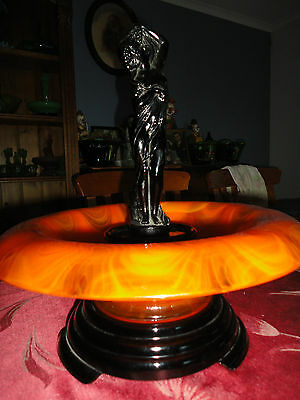 Art Deco Extremely Rare Orange Cloud Glass Float Bowl with Black Jobling Lady