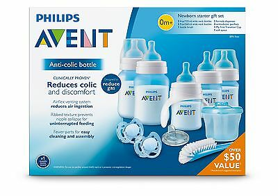 Philips AVENT Natural BPA Free Infant Lot 5pc Bottles Newborn Baby Boy Gift Blue