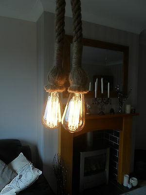 2 Mtr JUTE ROPE COVERED 2 CORE LIGHT FLEX WIRE CORD HANGING LAMP PENDANT CEILING
