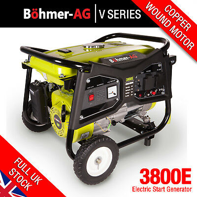Electric Key Start Generator 3000w 3.8KVA 4 Stroke Petrol UK 8HP  Böhler WX3800E