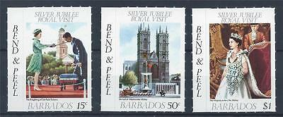 BARBADOS 1977 SG 590/592 Silver Jubilee Peel & Stick Set Mint MNH
