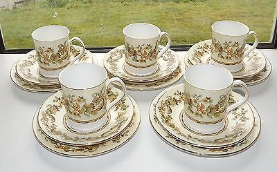 Elizabethan English Fine Bone China Autumn Song 5 x Coffee Cups Saucers Plates