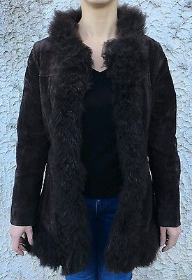 CAPPOTTO SUEDE LEATHER COAT VINTAGE 70s DARK BROWN PENNY LANE HIPPY SMALL